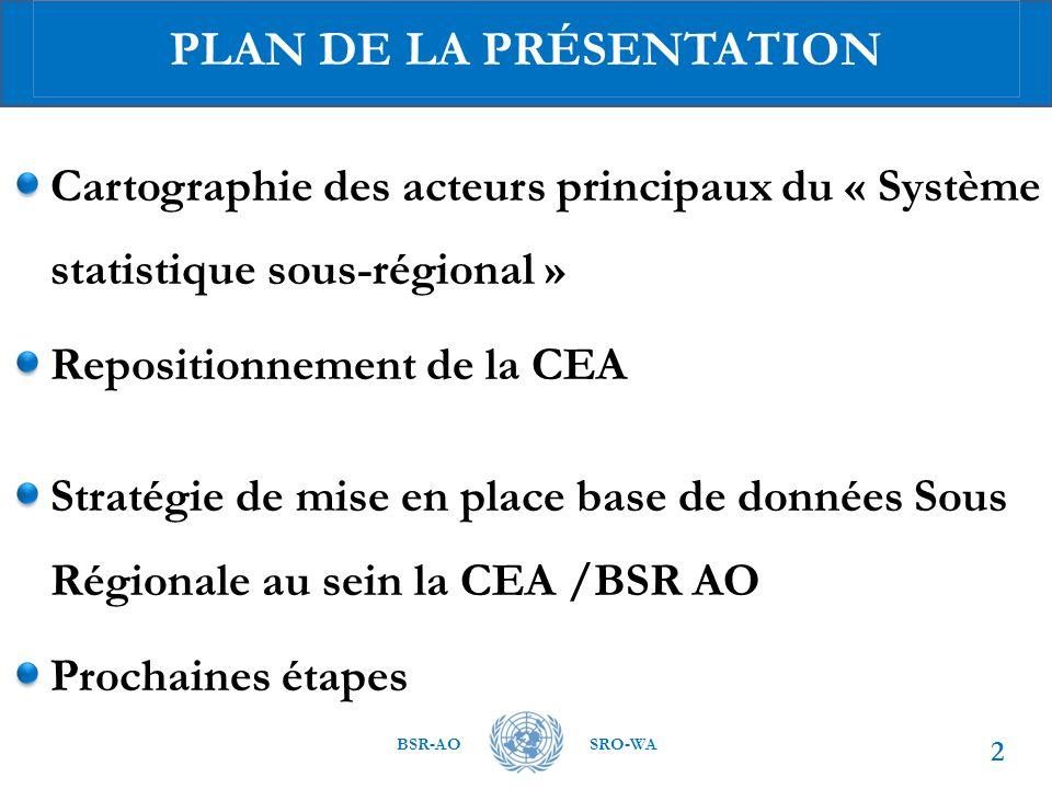 BSR-AOSRO-WA Cartographie des acteurs principaux du « Système statistique sous-régional » Repositionnement de la CEA Stratégie de mise en place base de données Sous Régionale au sein la CEA /BSR AO Prochaines étapes 2 PLAN DE LA PRÉSENTATION