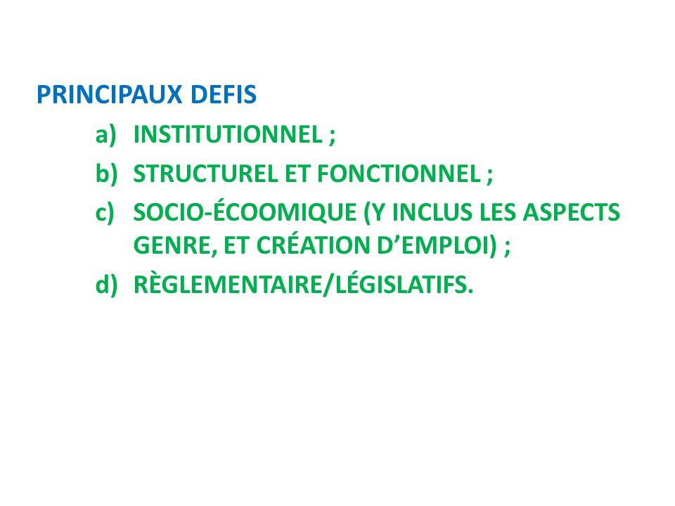 PRINCIPAUX DEFIS a)INSTITUTIONNEL ; b)STRUCTUREL ET FONCTIONNEL ; c)SOCIO-ÉCOOMIQUE (Y INCLUS LES ASPECTS GENRE, ET CRÉATION D'EMPLOI) ; d)RÈGLEMENTAI