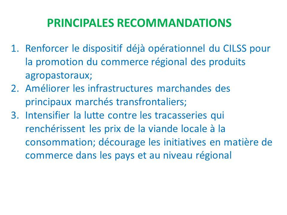 1.Renforcer le dispositif déjà opérationnel du CILSS pour la promotion du commerce régional des produits agropastoraux; 2.Améliorer les infrastructure