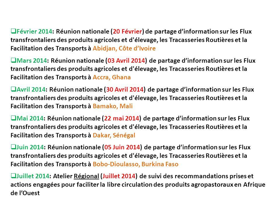  Février 2014: Réunion nationale (20 Février) de partage d'information sur les Flux transfrontaliers des produits agricoles et d'élevage, les Tracass