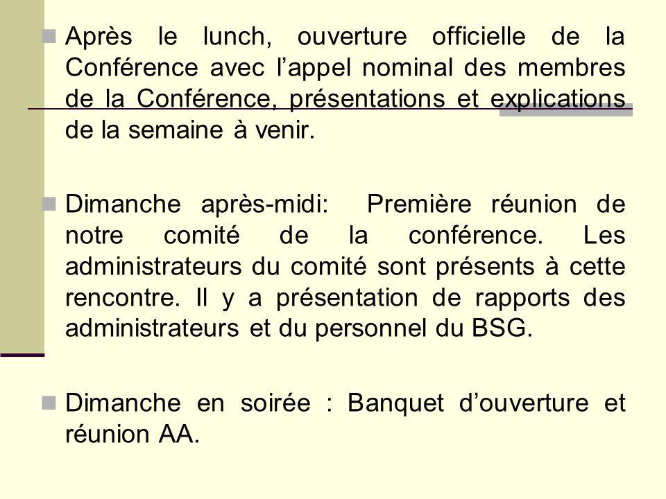 Après le lunch, ouverture officielle de la Conférence avec l'appel nominal des membres de la Conférence, présentations et explications de la semaine à venir.