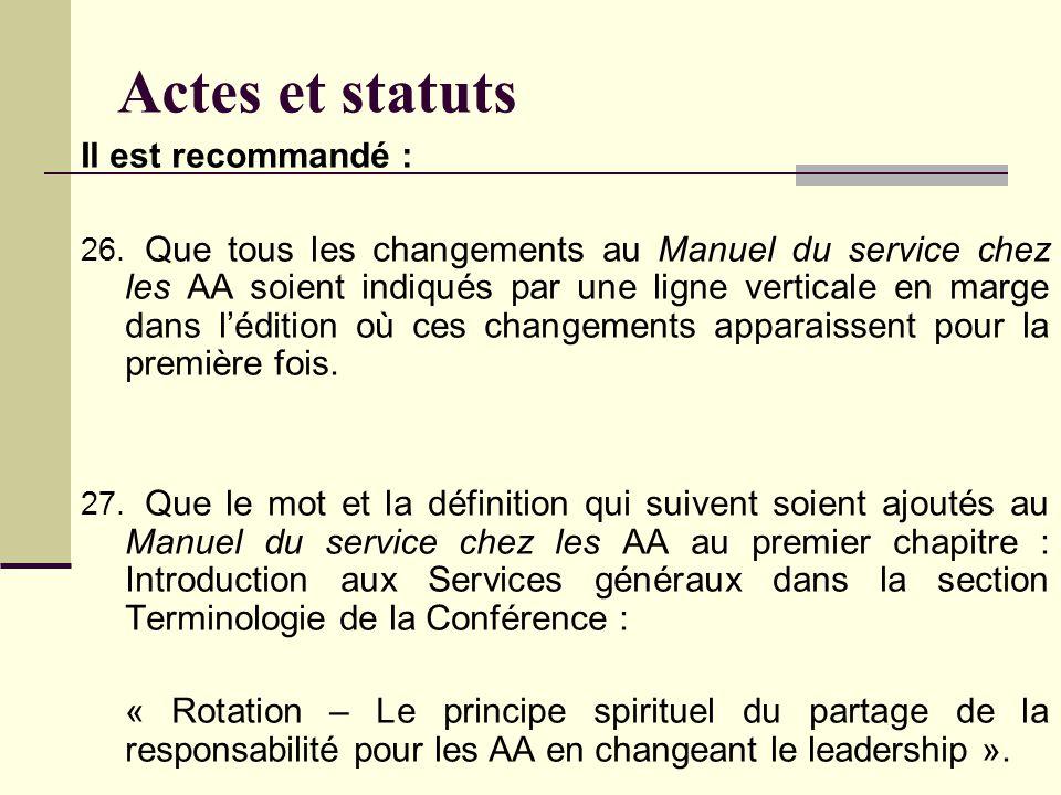 Actes et statuts Il est recommandé : 26.