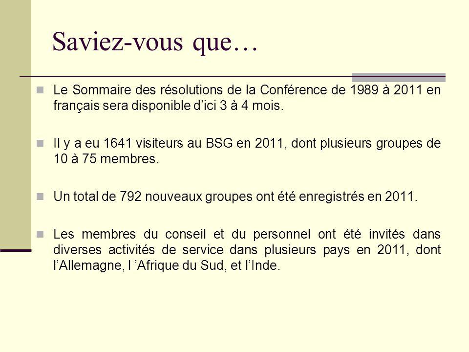Saviez-vous que… Le Sommaire des résolutions de la Conférence de 1989 à 2011 en français sera disponible d'ici 3 à 4 mois.