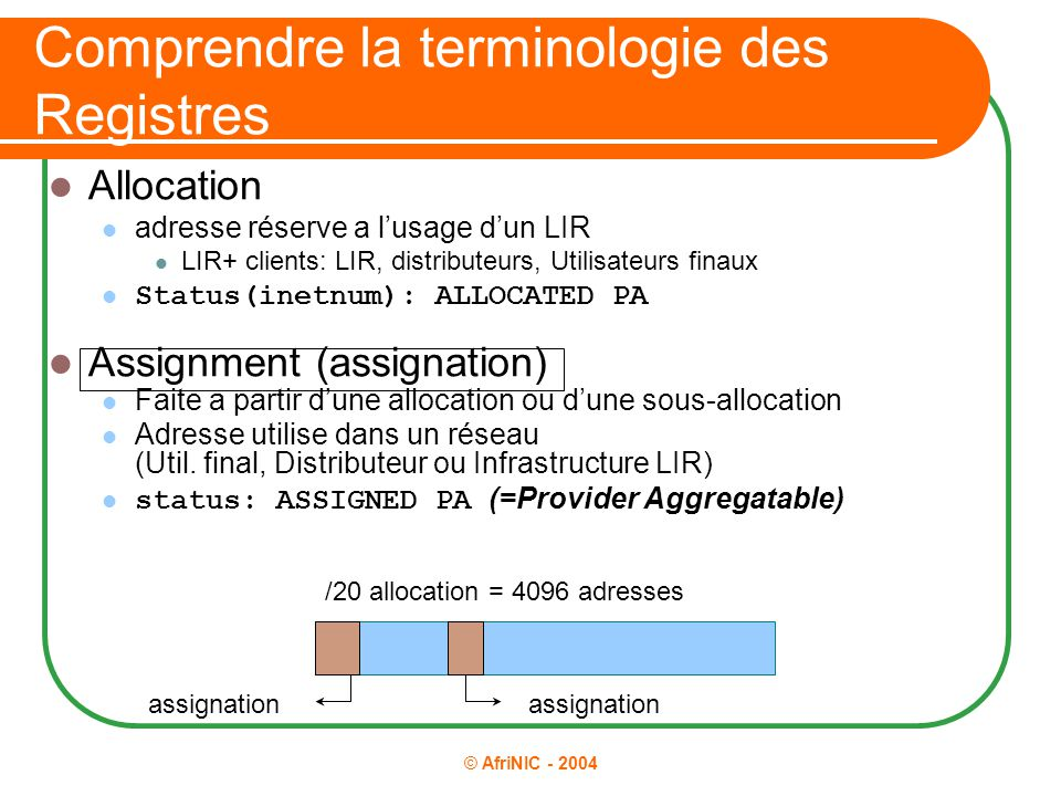 © AfriNIC - 2004 Comprendre la terminologie des Registres Allocation adresse réserve a l'usage d'un LIR LIR+ clients: LIR, distributeurs, Utilisateurs