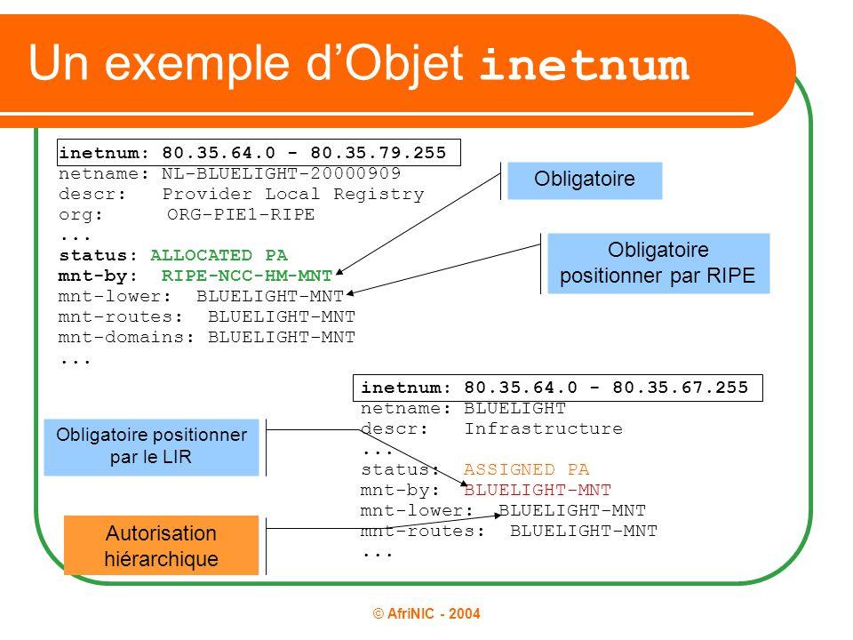 © AfriNIC - 2004 Un exemple d'Objet inetnum inetnum: 80.35.64.0 - 80.35.67.255 netname: BLUELIGHT descr: Infrastructure... status: ASSIGNED PA mnt-by: