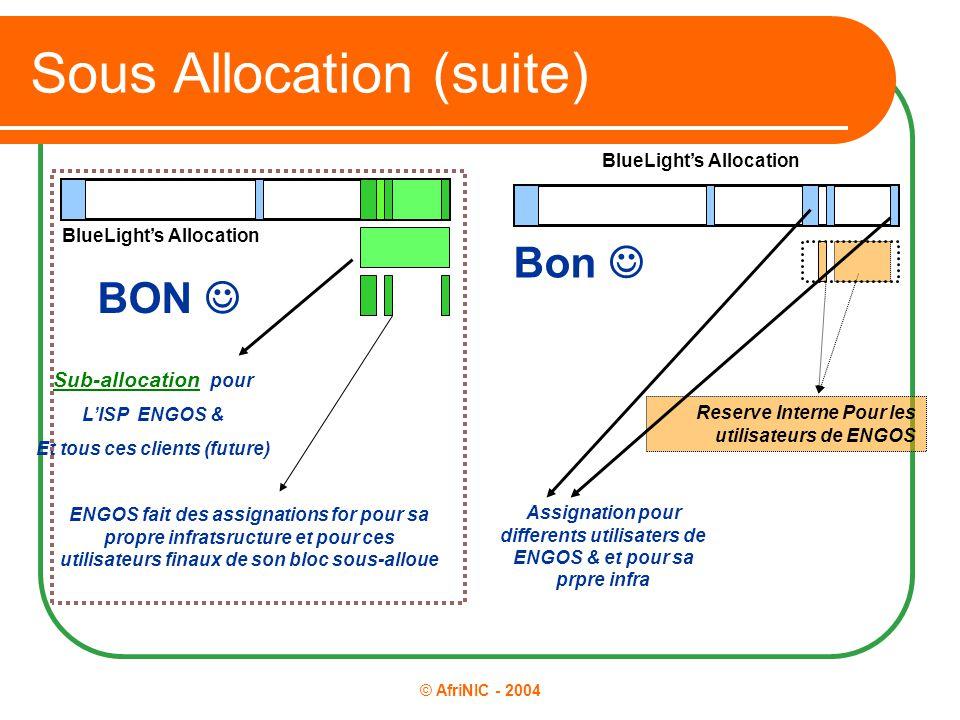 © AfriNIC - 2004 Sous Allocation (suite) BON Sub-allocation pour L'ISP ENGOS & Et tous ces clients (future) ENGOS fait des assignations for pour sa pr