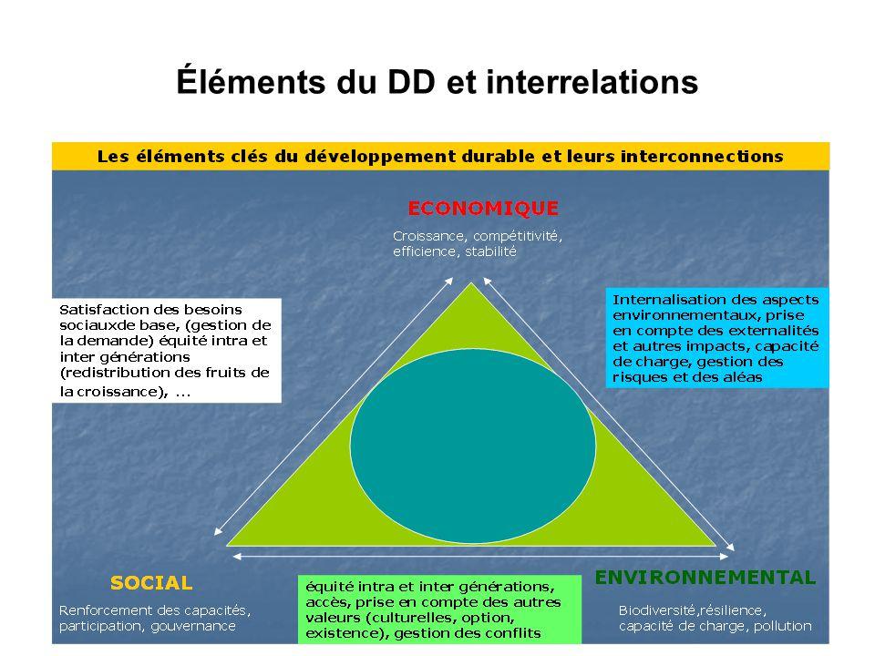 Éléments du DD et interrelations
