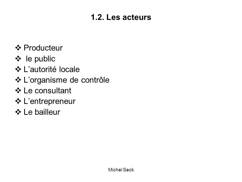 1.2. Les acteurs  Producteur  le public  L'autorité locale  L'organisme de contrôle  Le consultant  L'entrepreneur  Le bailleur Michel Seck