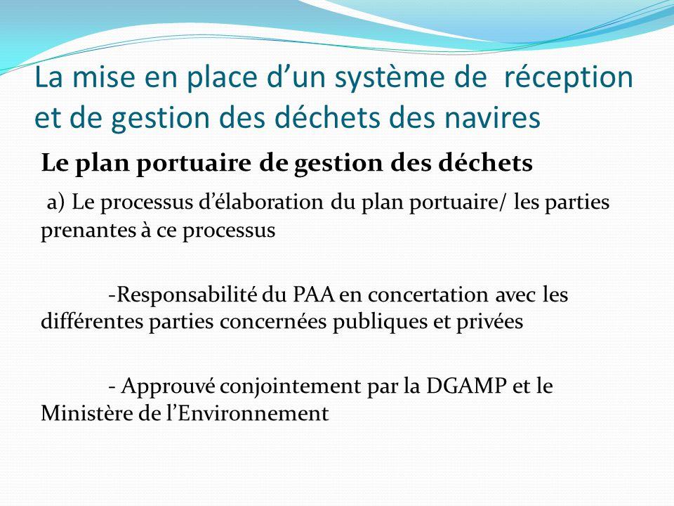 La mise en place d'un système de réception et de gestion des déchets des navires Le plan portuaire de gestion des déchets a) Le processus d'élaboratio