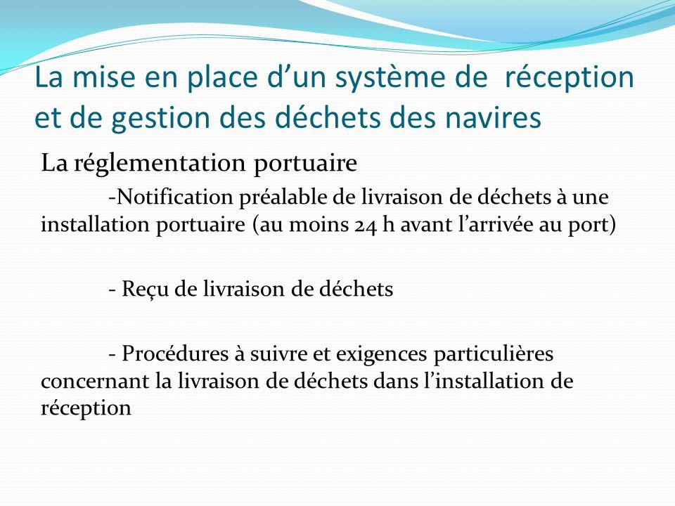 La mise en place d'un système de réception et de gestion des déchets des navires La réglementation portuaire -Notification préalable de livraison de d