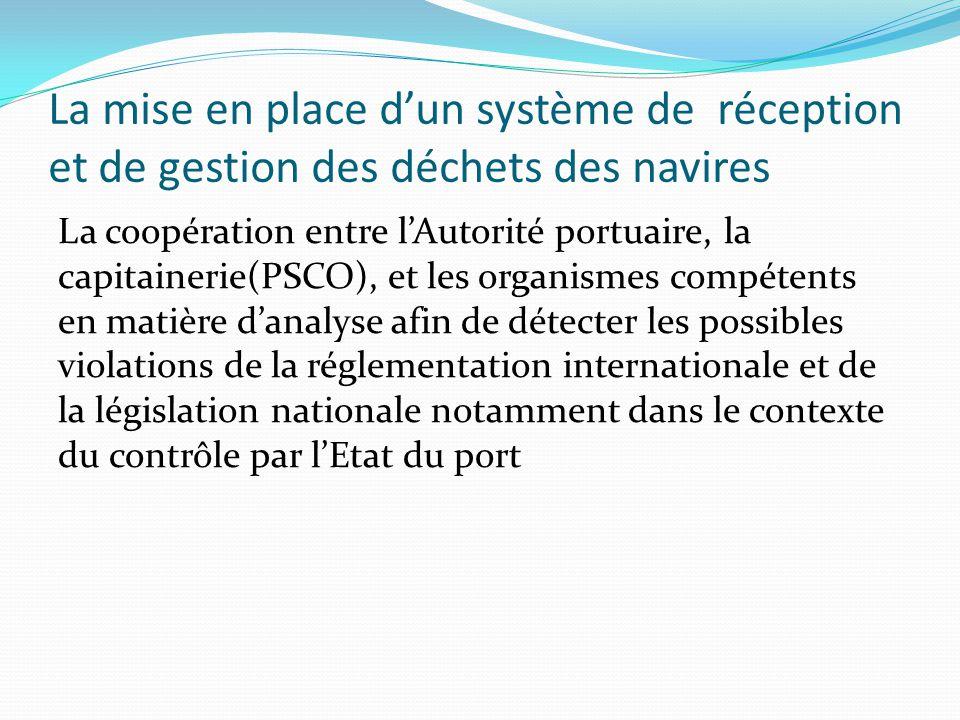 La mise en place d'un système de réception et de gestion des déchets des navires Le suivi et le contrôle - Par les autorités compétentes du PAA.