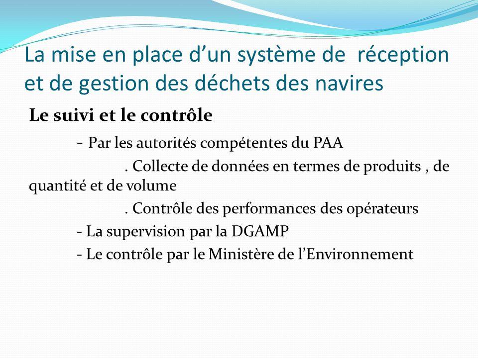 La mise en place d'un système de réception et de gestion des déchets des navires Le suivi et le contrôle - Par les autorités compétentes du PAA. Colle