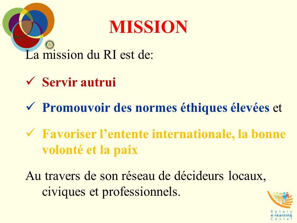 MISSION La mission du RI est de: Servir autrui Promouvoir des normes éthiques élevées et Favoriser l'entente internationale, la bonne volonté et la pa