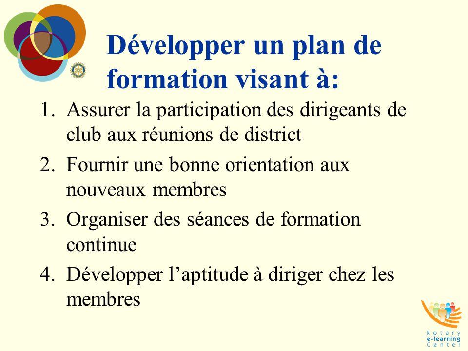 Développer un plan de formation visant à: 1.Assurer la participation des dirigeants de club aux réunions de district 2.Fournir une bonne orientation a