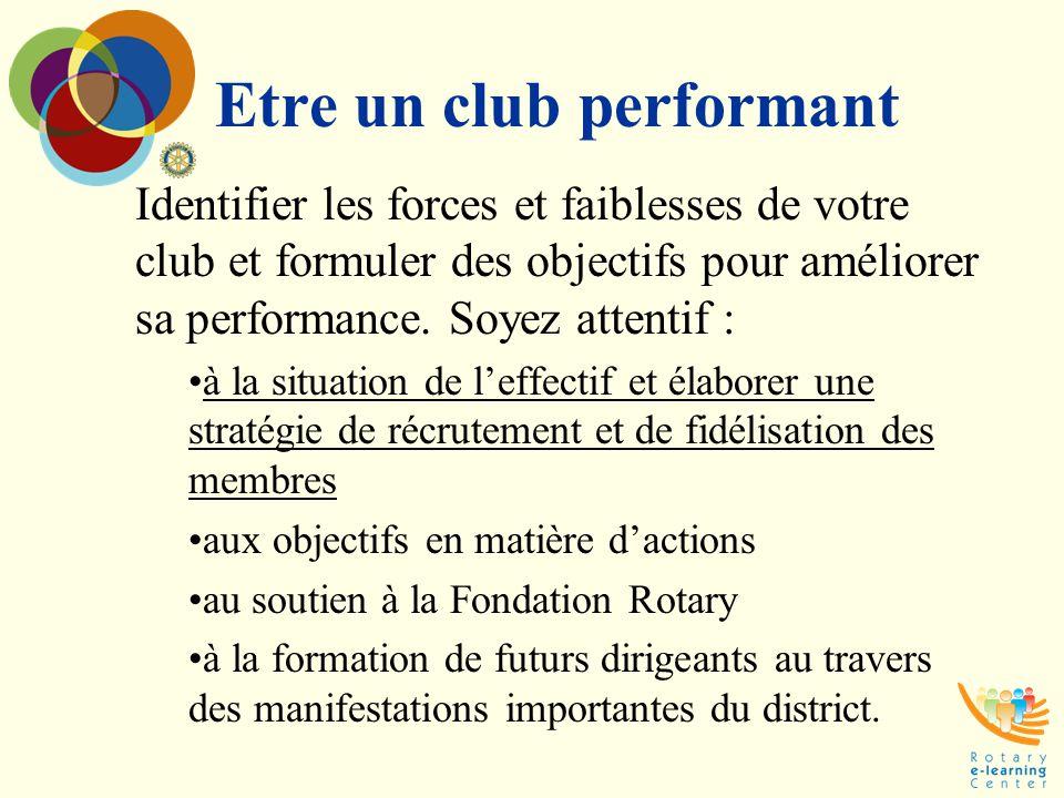 Etre un club performant Identifier les forces et faiblesses de votre club et formuler des objectifs pour améliorer sa performance. Soyez attentif : à