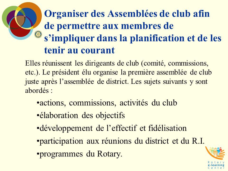 Organiser des Assemblées de club afin de permettre aux membres de s'impliquer dans la planification et de les tenir au courant Elles réunissent les di
