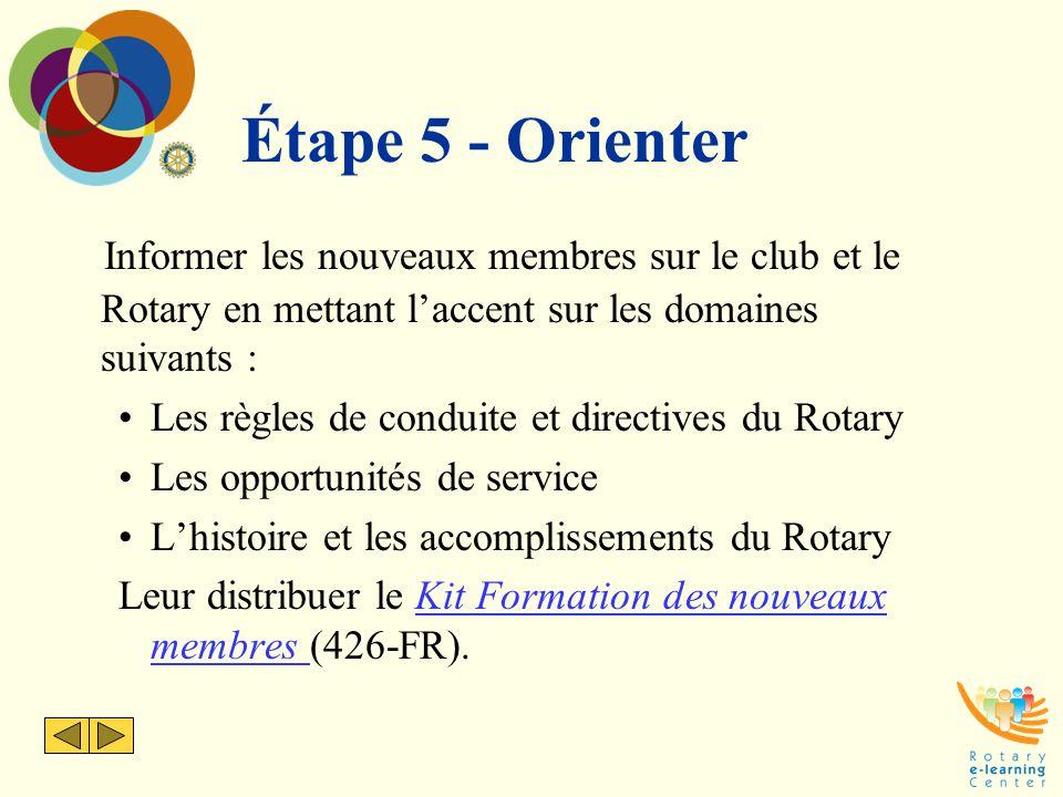 Étape 5 - Orienter Informer les nouveaux membres sur le club et le Rotary en mettant l'accent sur les domaines suivants : Les règles de conduite et di