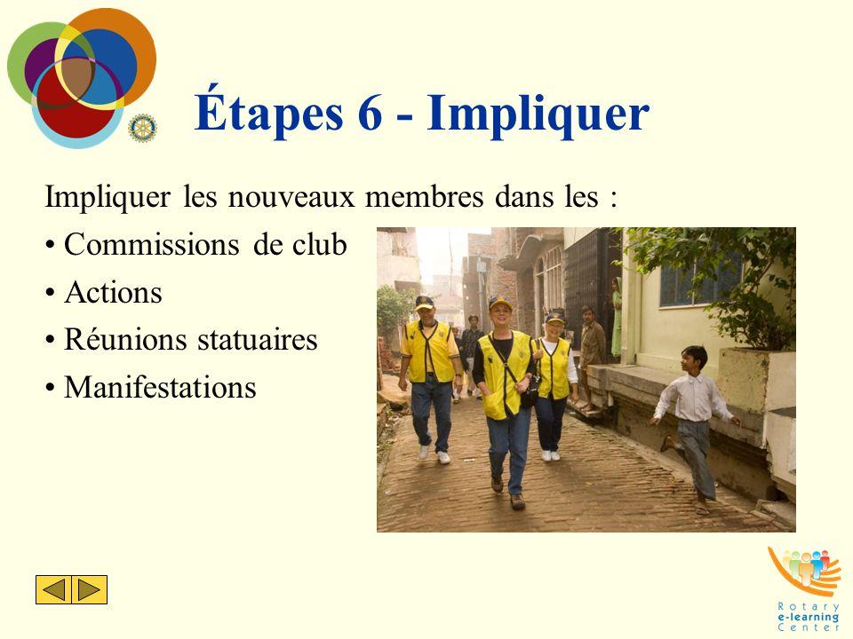 Étapes 6 - Impliquer Impliquer les nouveaux membres dans les : Commissions de club Actions Réunions statuaires Manifestations