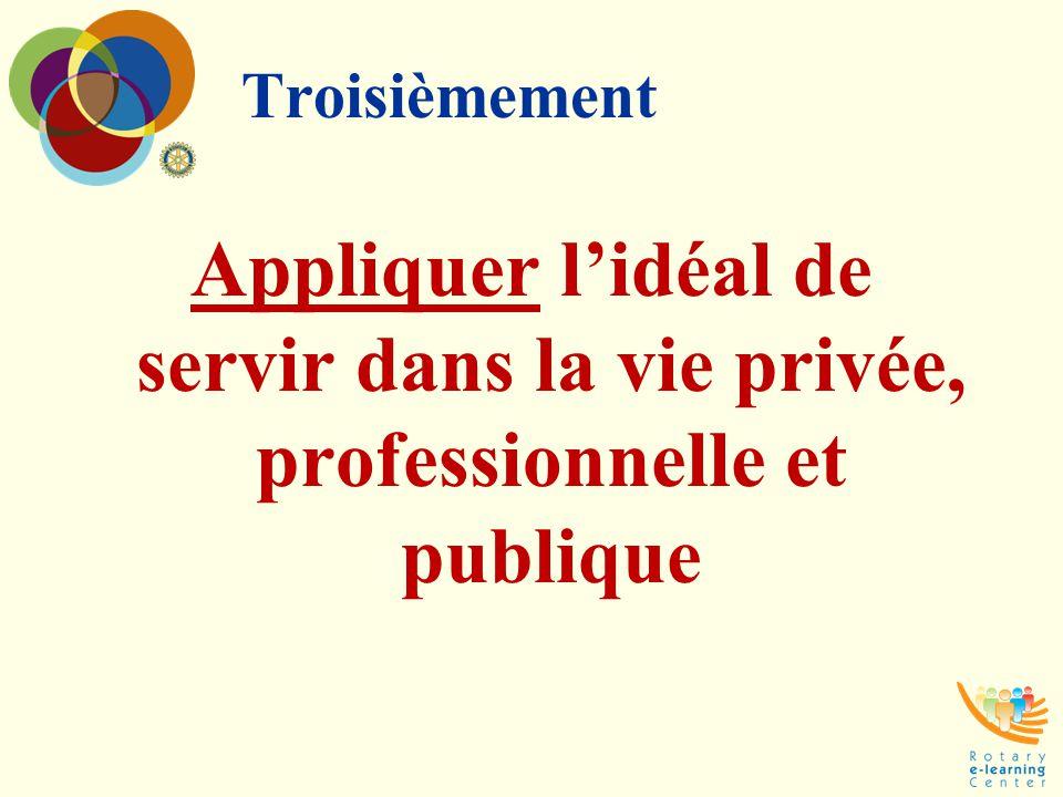 Troisièmement Appliquer l'idéal de servir dans la vie privée, professionnelle et publique