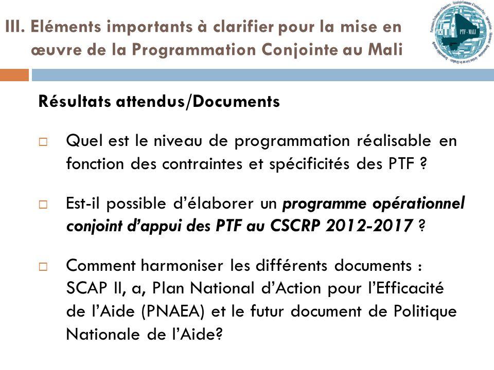 Résultats attendus/Documents  Quel est le niveau de programmation réalisable en fonction des contraintes et spécificités des PTF .
