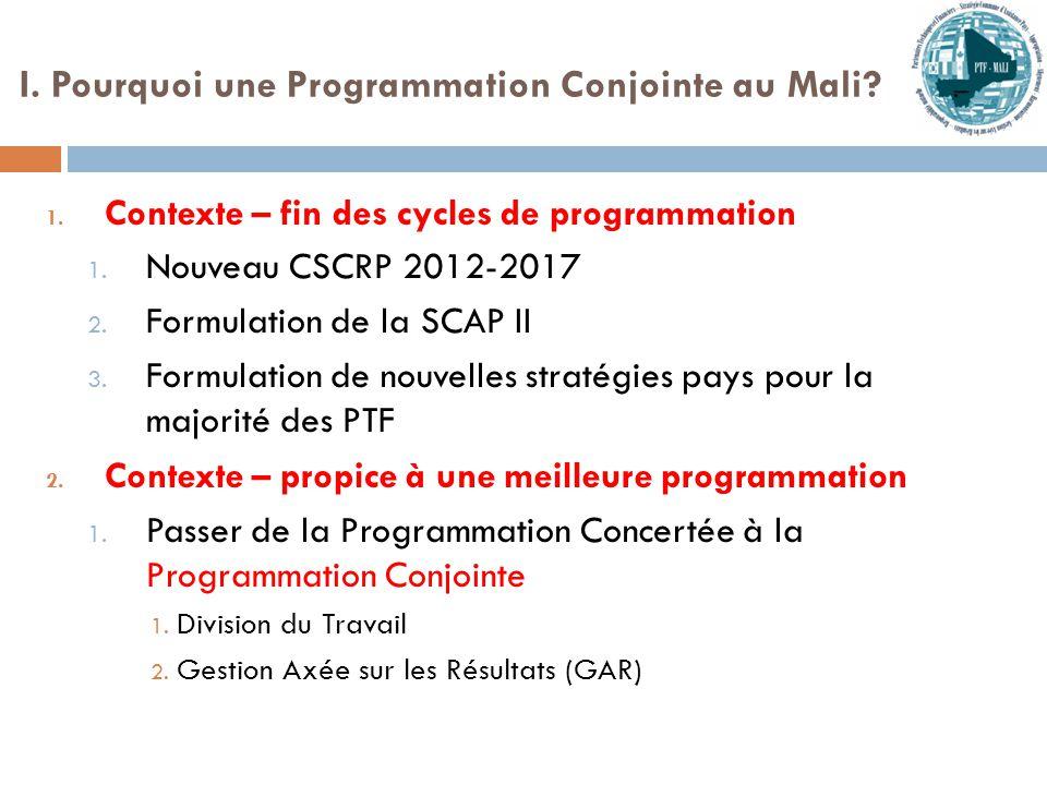 I. Pourquoi une Programmation Conjointe au Mali. 1.