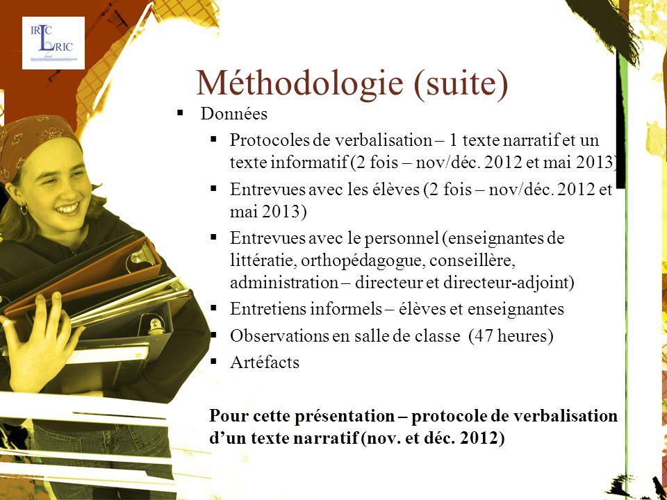 Méthodologie (suite)  Données  Protocoles de verbalisation – 1 texte narratif et untexte informatif (2 fois – nov/déc.