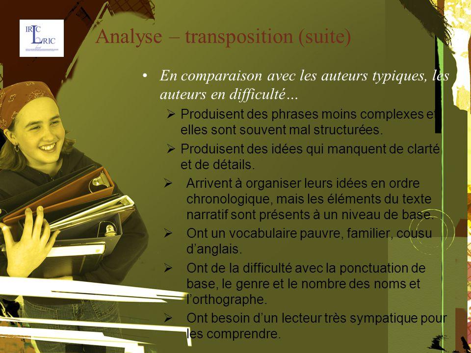 Analyse – transposition (suite) En comparaison avec les auteurs typiques, les auteurs en difficulté…  Produisent des phrases moins complexes et elles sont souvent mal structurées.