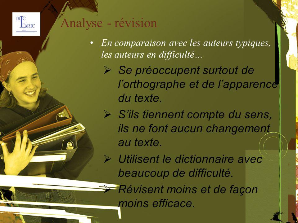 Analyse - révision En comparaison avec les auteurs typiques, les auteurs en difficulté…  Se préoccupent surtout de l'orthographe et de l'apparence du texte.