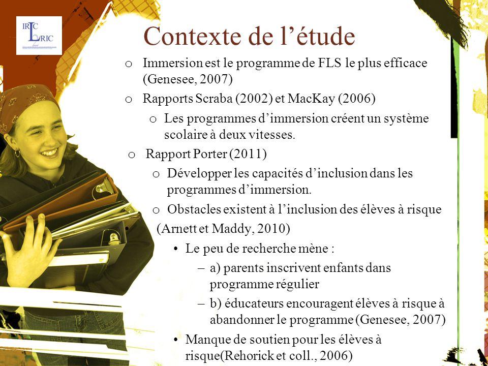 Contexte de l'étude o Immersion est le programme de FLS le plus efficace(Genesee, 2007) o Rapports Scraba (2002) et MacKay (2006) o Les programmes d'immersion créent un systèmescolaire à deux vitesses.