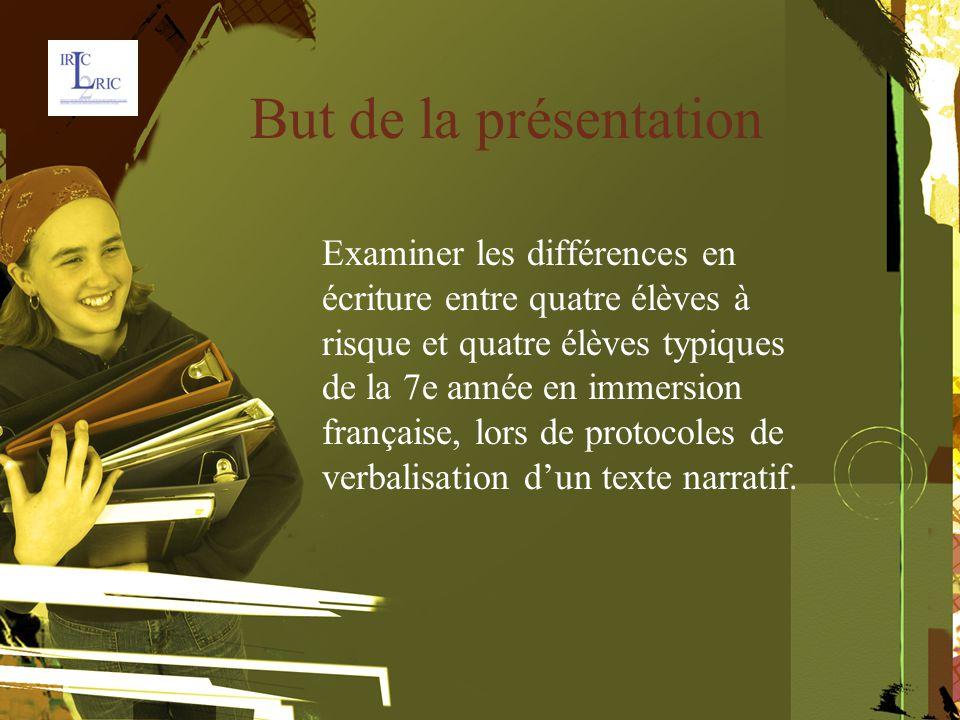 But de la présentation Examiner les différences en écriture entre quatre élèves à risque et quatre élèves typiques de la 7e année en immersion française, lors de protocoles de verbalisation d'un texte narratif.