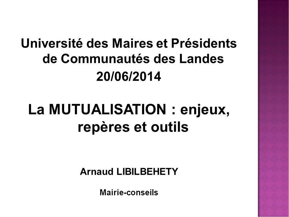 Université des Maires et Présidents de Communautés des Landes 20/06/2014 La MUTUALISATION : enjeux, repères et outils Arnaud LIBILBEHETY Mairie-conseils