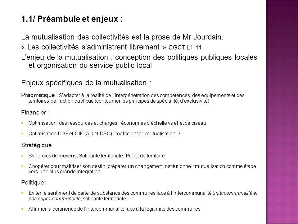 1.2/ La mutualisation « stricto sensu » : repères juridiques CGCT (loi RCT 16/12/2010) et décrets  CGCT, L 5211-4-1 + Décret 2011-515 : mutualisation C té  C nes ou C nes  C té  CGCT, L 5211-4-2 et 3 + Décret 2012-124 : services communs + biens communs  CGCT L 5211-39-1 : schéma de mutualisation Perspectives Coefficient de mutualisation dans la dotation d'intercommunalité : 10% ; Mode de calcul à préciser dans décret