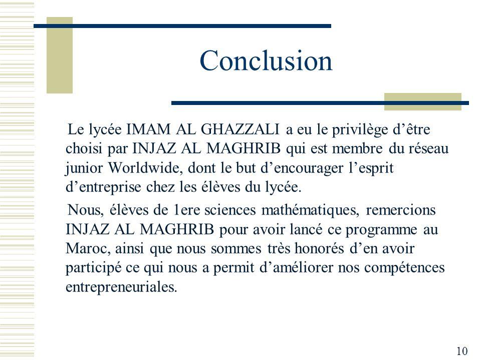 Conclusion Le lycée IMAM AL GHAZZALI a eu le privilège d'être choisi par INJAZ AL MAGHRIB qui est membre du réseau junior Worldwide, dont le but d'encourager l'esprit d'entreprise chez les élèves du lycée.