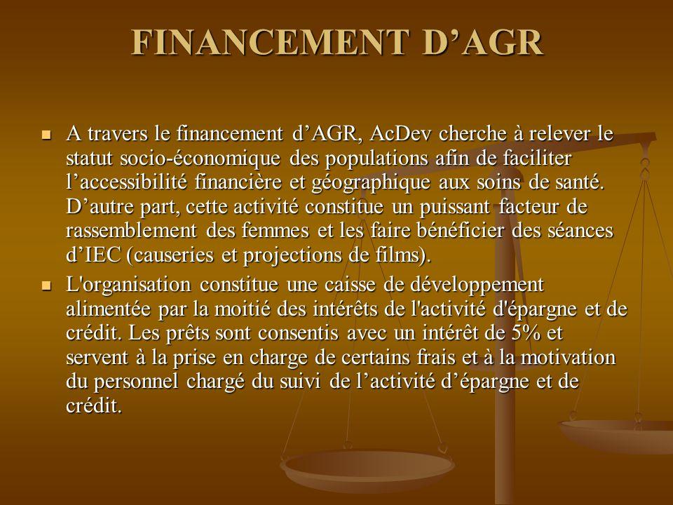 FINANCEMENT D'AGR A travers le financement d'AGR, AcDev cherche à relever le statut socio-économique des populations afin de faciliter l'accessibilité financière et géographique aux soins de santé.