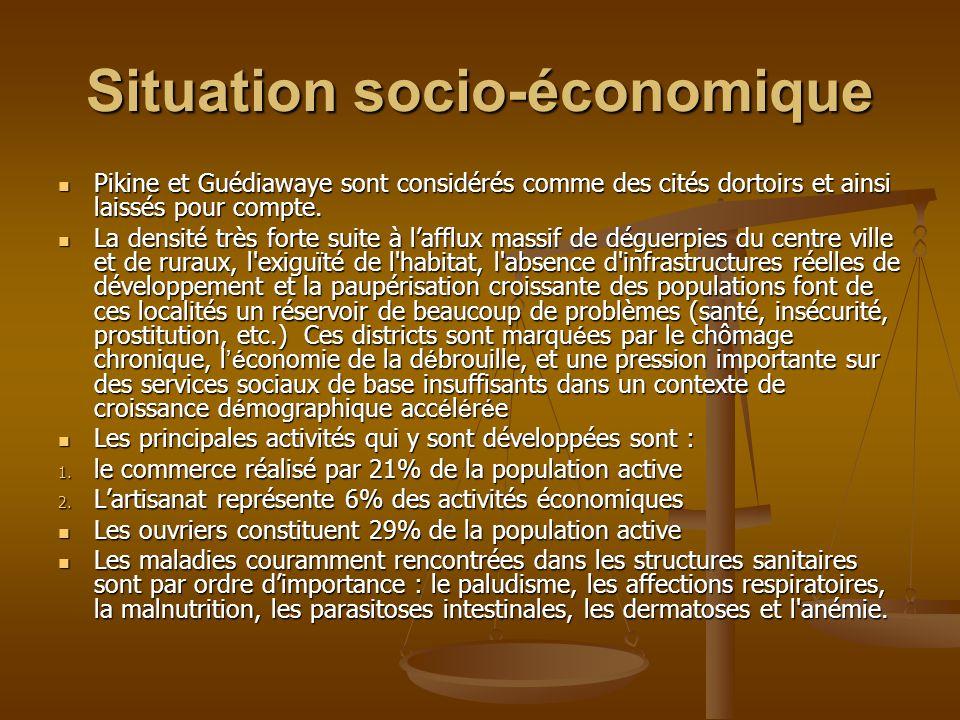 Situation socio-économique Pikine et Guédiawaye sont considérés comme des cités dortoirs et ainsi laissés pour compte.