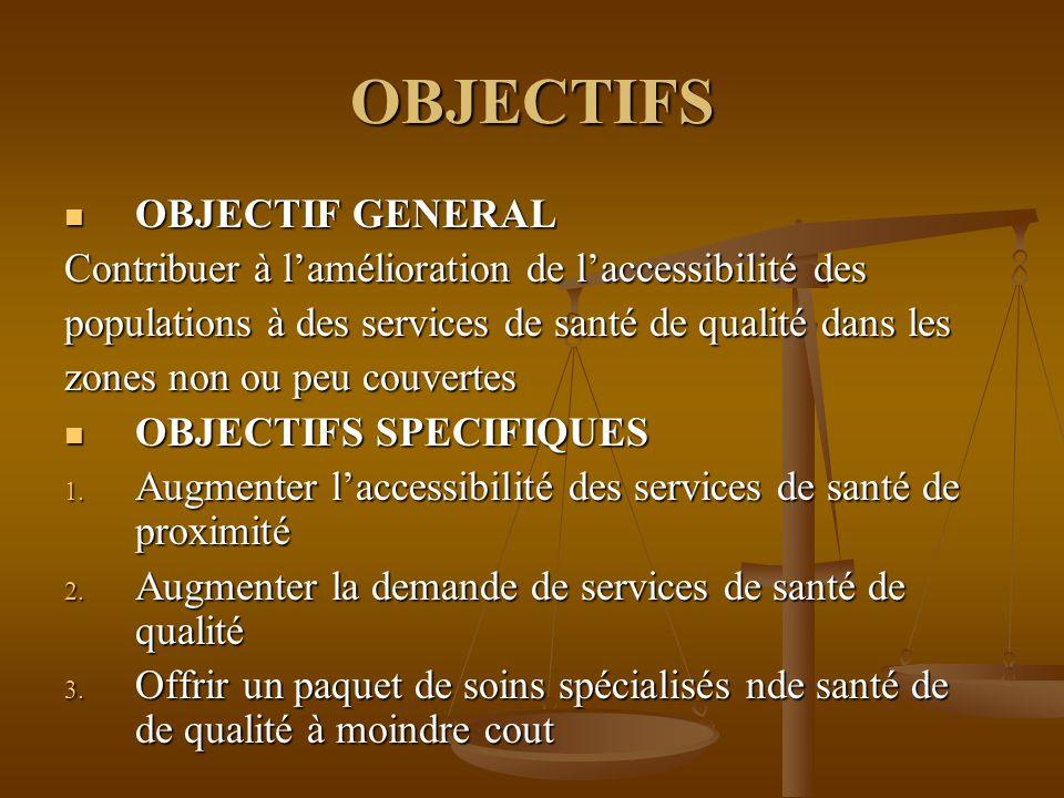 OBJECTIFS OBJECTIF GENERAL OBJECTIF GENERAL Contribuer à l'amélioration de l'accessibilité des populations à des services de santé de qualité dans les zones non ou peu couvertes OBJECTIFS SPECIFIQUES OBJECTIFS SPECIFIQUES 1.