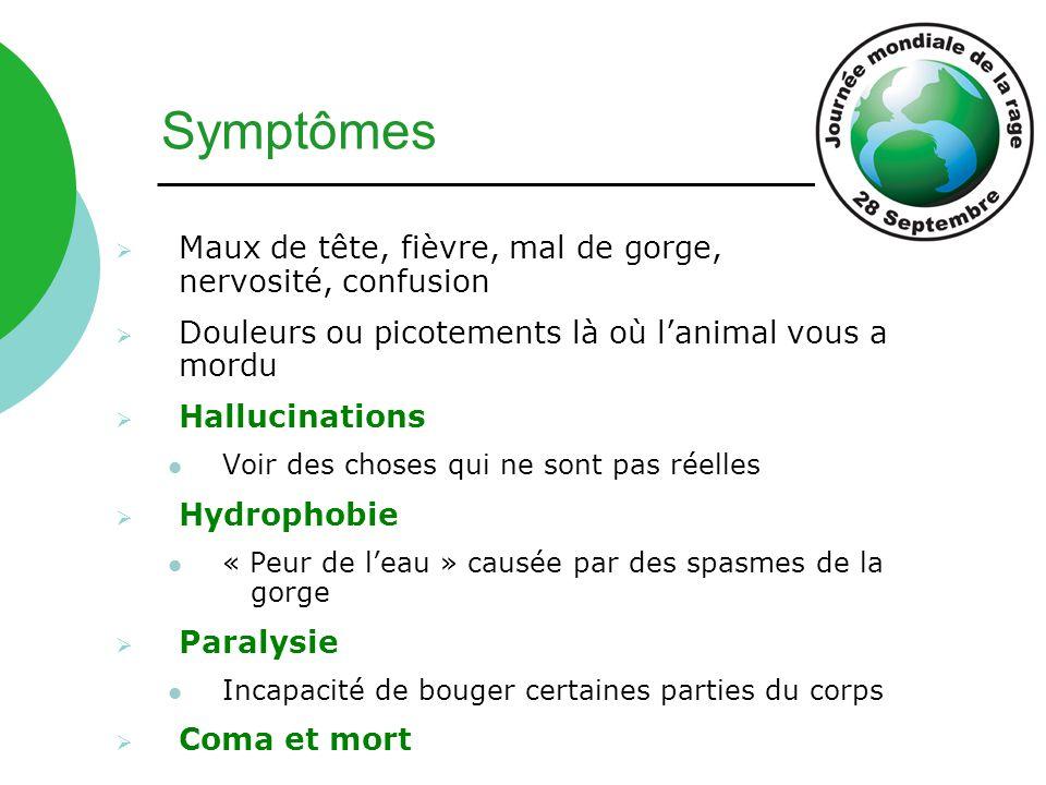 Symptômes  Maux de tête, fièvre, mal de gorge, nervosité, confusion  Douleurs ou picotements là où l'animal vous a mordu  Hallucinations Voir des c