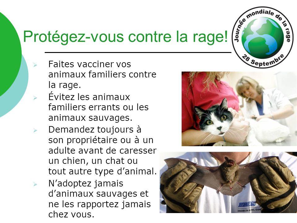 Protégez-vous contre la rage!  Faites vacciner vos animaux familiers contre la rage.  Évitez les animaux familiers errants ou les animaux sauvages.