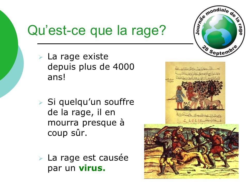  La rage existe depuis plus de 4000 ans!  Si quelqu'un souffre de la rage, il en mourra presque à coup sûr.  La rage est causée par un virus. Qu'es