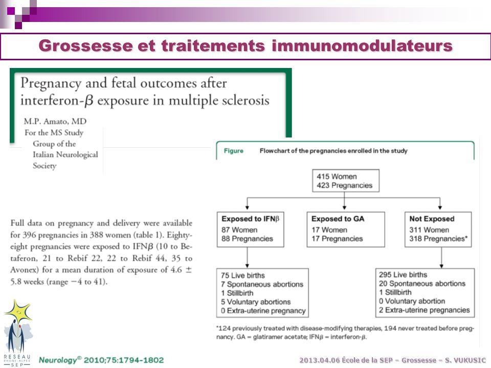 Grossesse et traitements immunomodulateurs 2013.04.06 École de la SEP – Grossesse – S. VUKUSIC