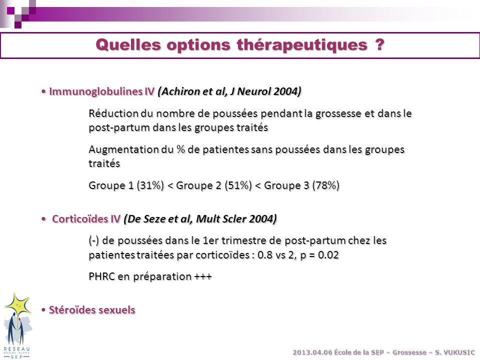 Immunoglobulines IV (Achiron et al, J Neurol 2004) Immunoglobulines IV (Achiron et al, J Neurol 2004) Réduction du nombre de poussées pendant la gross