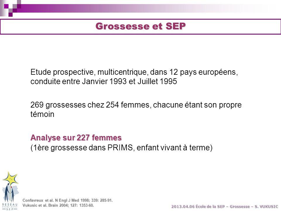 Grossesse et SEP Etude prospective, multicentrique, dans 12 pays européens, conduite entre Janvier 1993 et Juillet 1995 269 grossesses chez 254 femmes