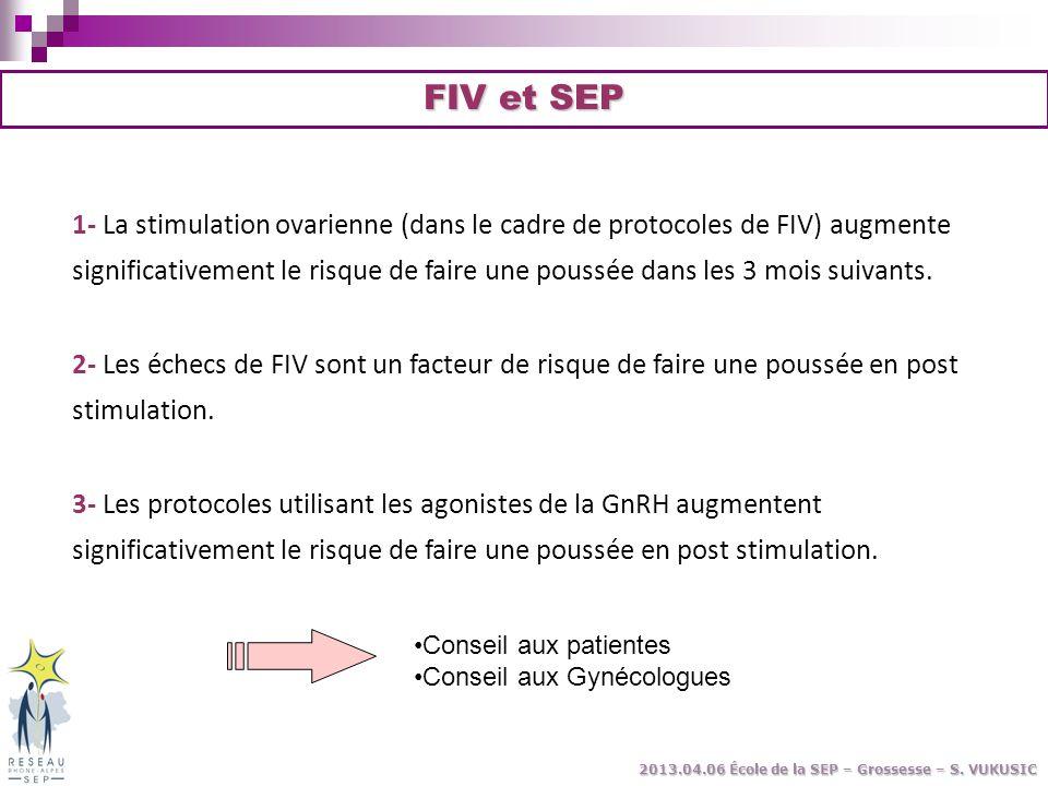 1- La stimulation ovarienne (dans le cadre de protocoles de FIV) augmente significativement le risque de faire une poussée dans les 3 mois suivants. 2