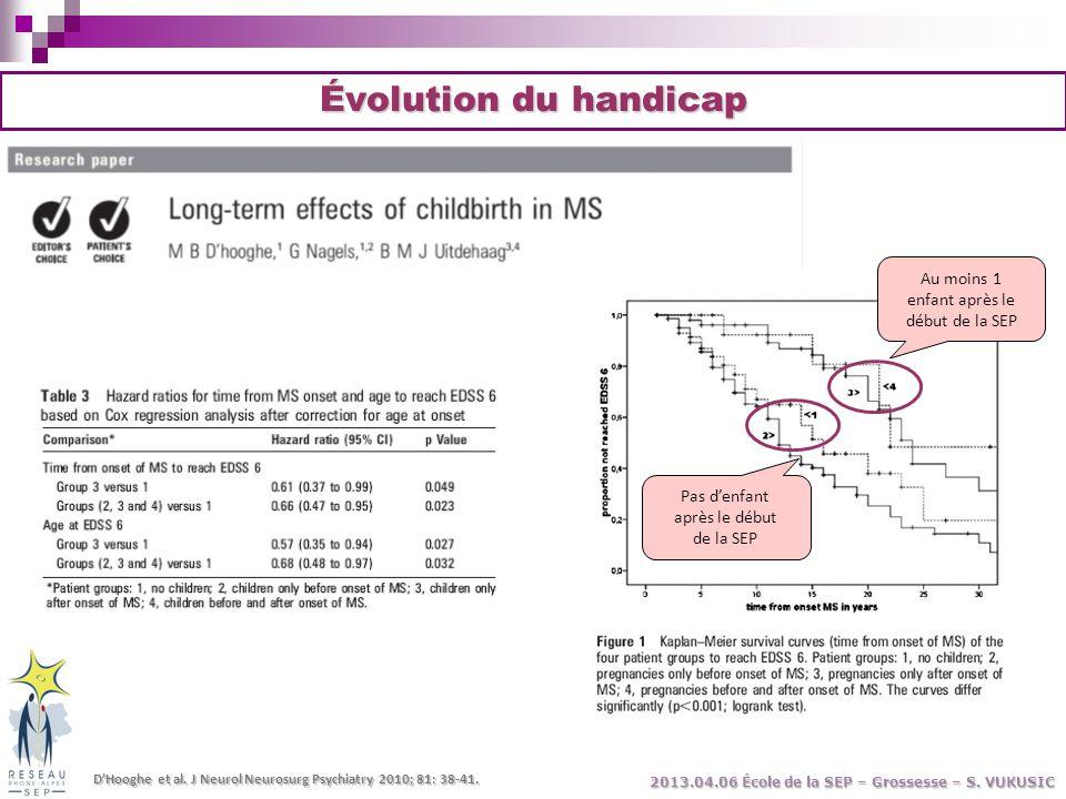 Évolution du handicap D'Hooghe et al. J Neurol Neurosurg Psychiatry 2010; 81: 38-41. Pas d'enfant après le début de la SEP Au moins 1 enfant après le
