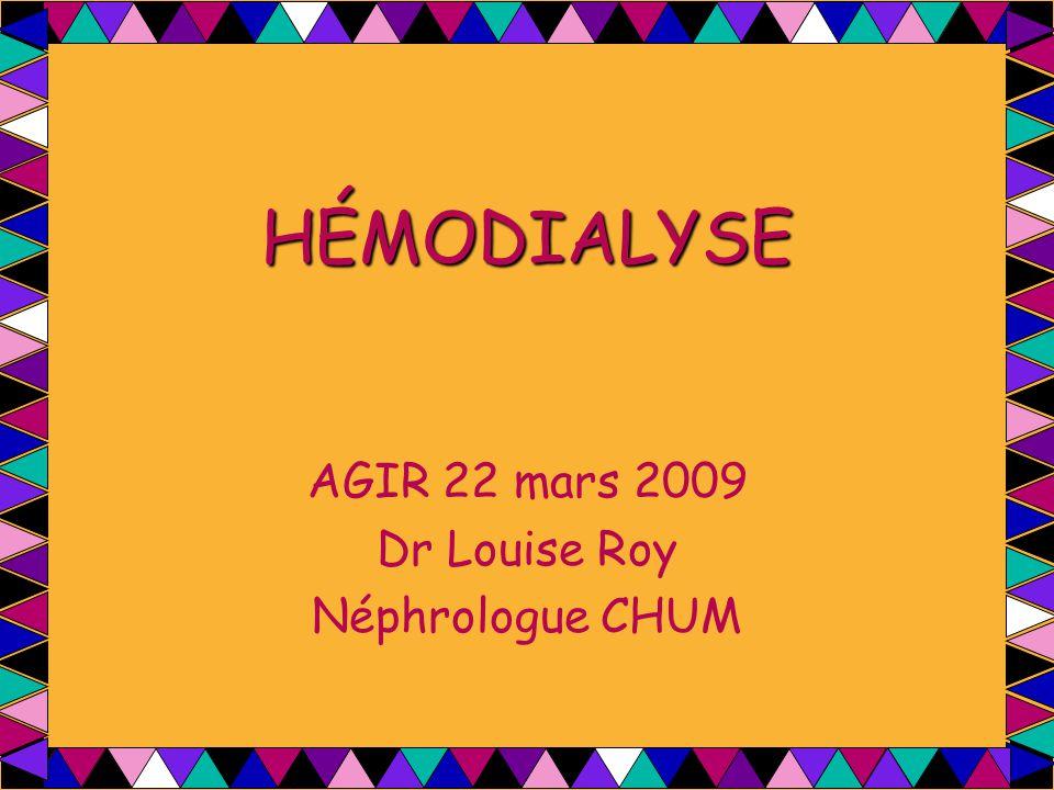 HÉMODIALYSE AGIR 22 mars 2009 Dr Louise Roy Néphrologue CHUM