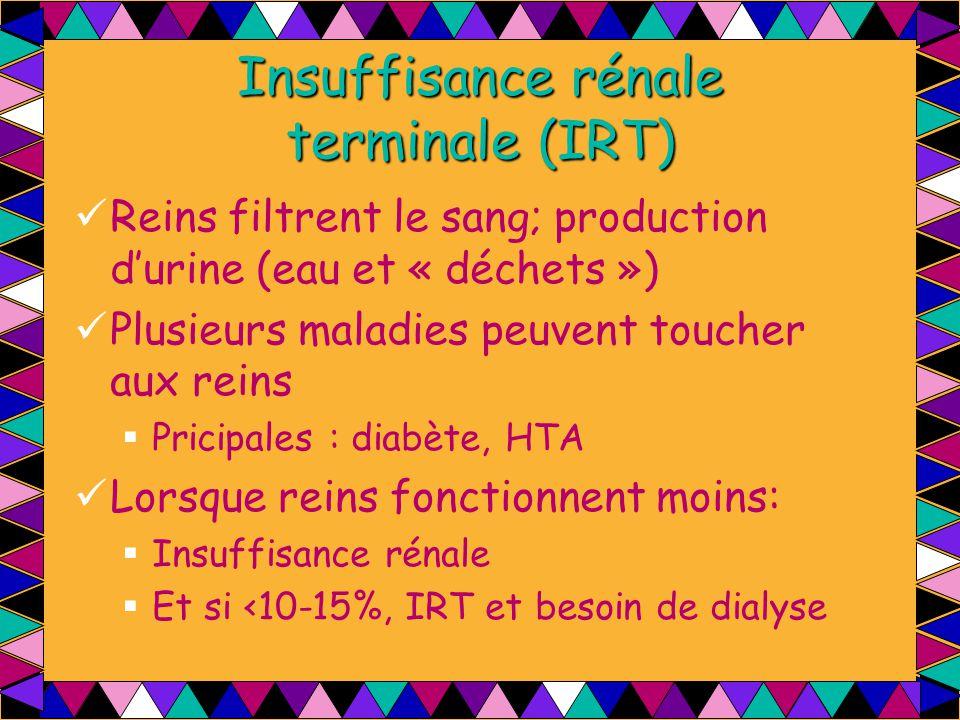 Insuffisance rénale terminale (IRT) Reins filtrent le sang; production d'urine (eau et « déchets ») Plusieurs maladies peuvent toucher aux reins  Pri