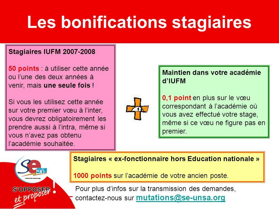 Les bonifications stagiaires Stagiaires IUFM 2007-2008 50 points : à utiliser cette année ou l'une des deux années à venir, mais une seule fois .