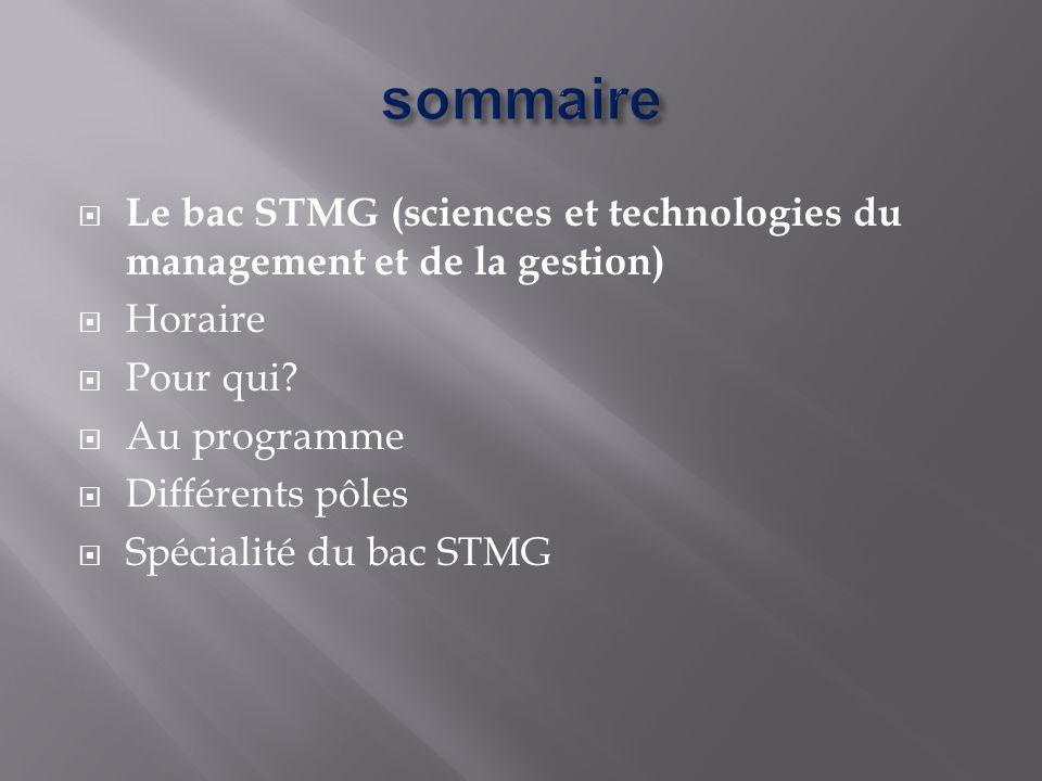  Le bac STMG (sciences et technologies du management et de la gestion)  Horaire  Pour qui?  Au programme  Différents pôles  Spécialité du bac ST
