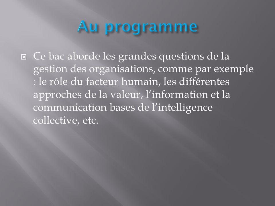  Ce bac aborde les grandes questions de la gestion des organisations, comme par exemple : le rôle du facteur humain, les différentes approches de la