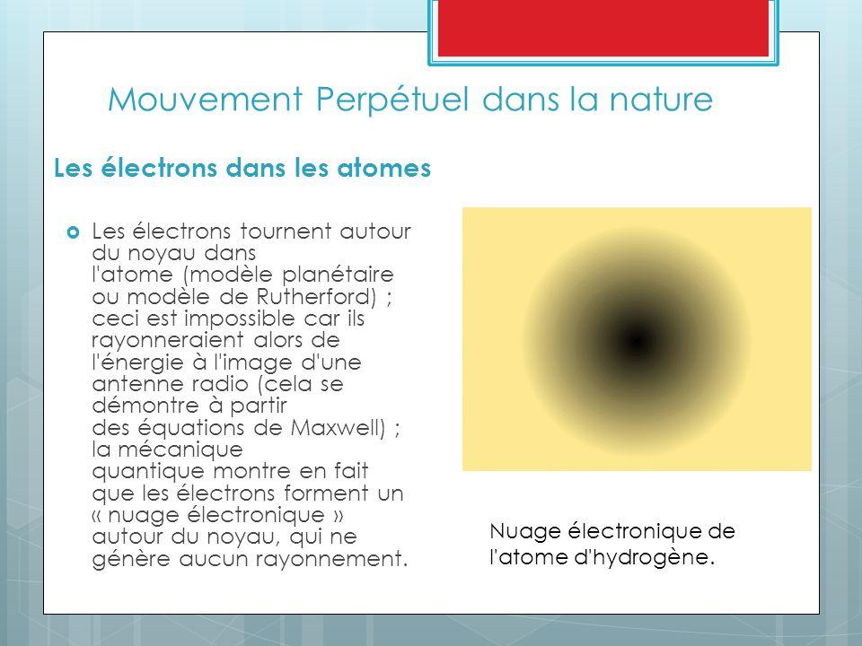 Mouvement Perpétuel dans la nature Les électrons dans les atomes  Les électrons tournent autour du noyau dans l atome (modèle planétaire ou modèle de Rutherford) ; ceci est impossible car ils rayonneraient alors de l énergie à l image d une antenne radio (cela se démontre à partir des équations de Maxwell) ; la mécanique quantique montre en fait que les électrons forment un « nuage électronique » autour du noyau, qui ne génère aucun rayonnement.